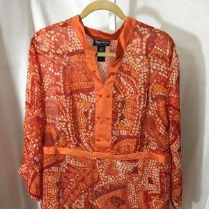 #361–. Maggie Barnes sheer blouse, new size 3X